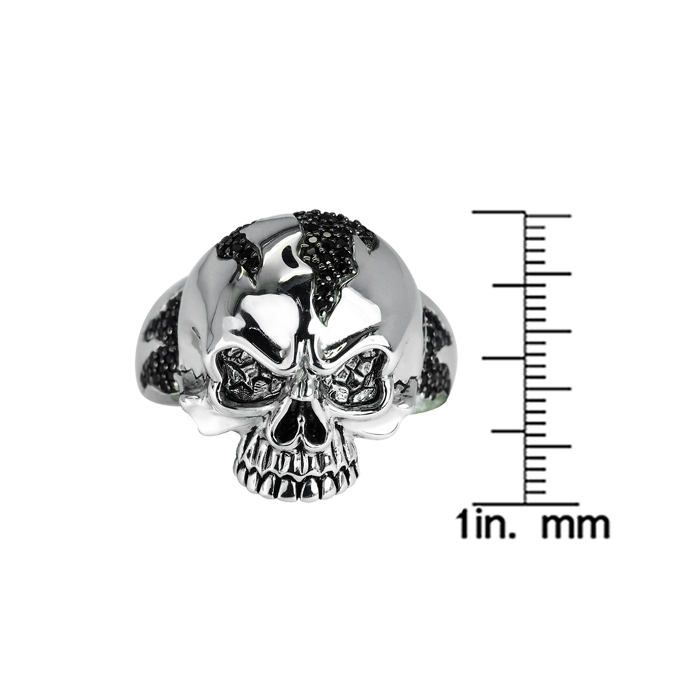 Fierce looking Sterling Silver Skull ring with black spinel RSR-0497