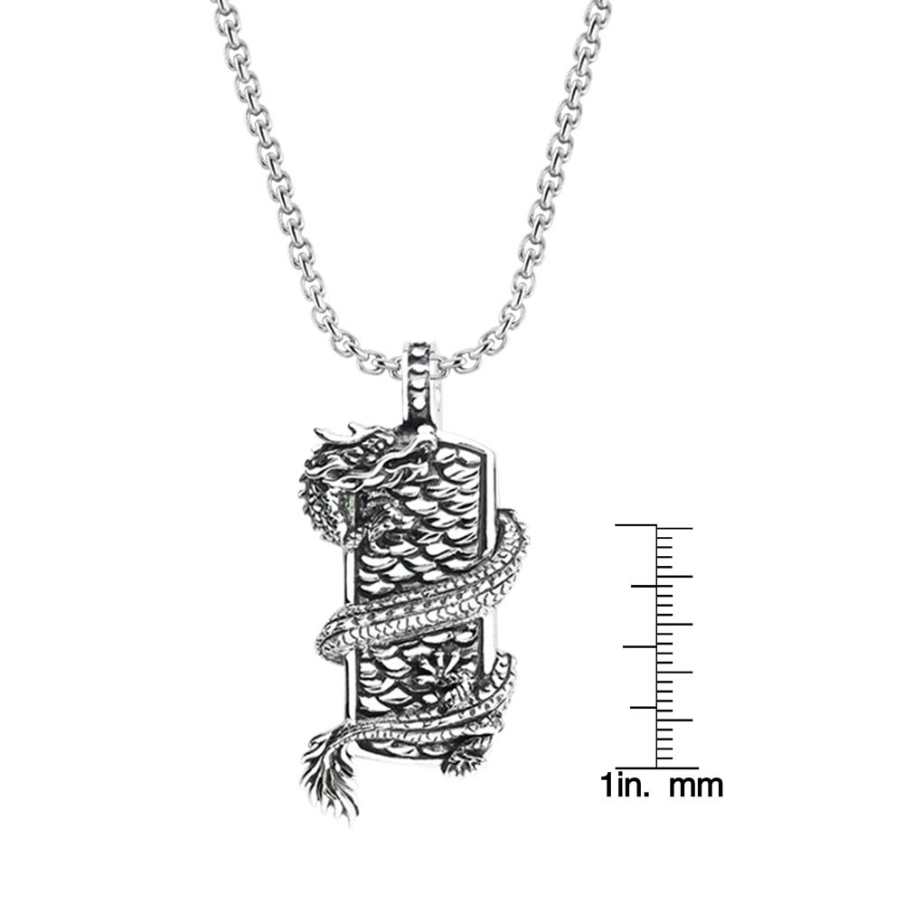 925 Sterling Silver men's pendant with Dragon wrapped on shield RSP-0384