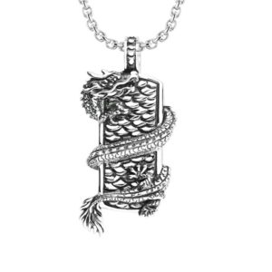 925 Sterling Silver men's pendant with Dragon wrapped on shield