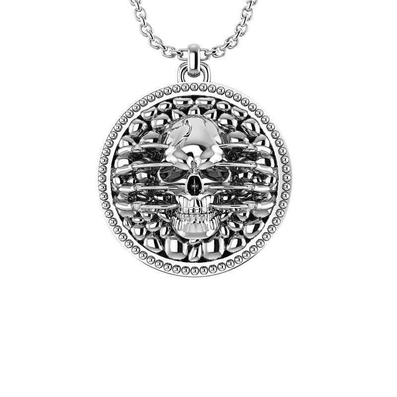 .925 Sterling Silver extremely detailed and artistic skull pendant for men