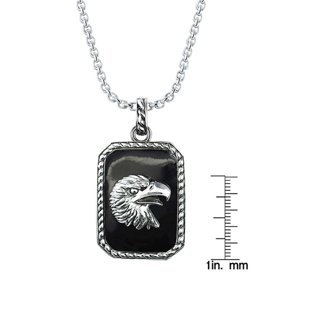 Biker's Necklace depicting Eagle'e head in silver on Black Onyx background RSP-0388