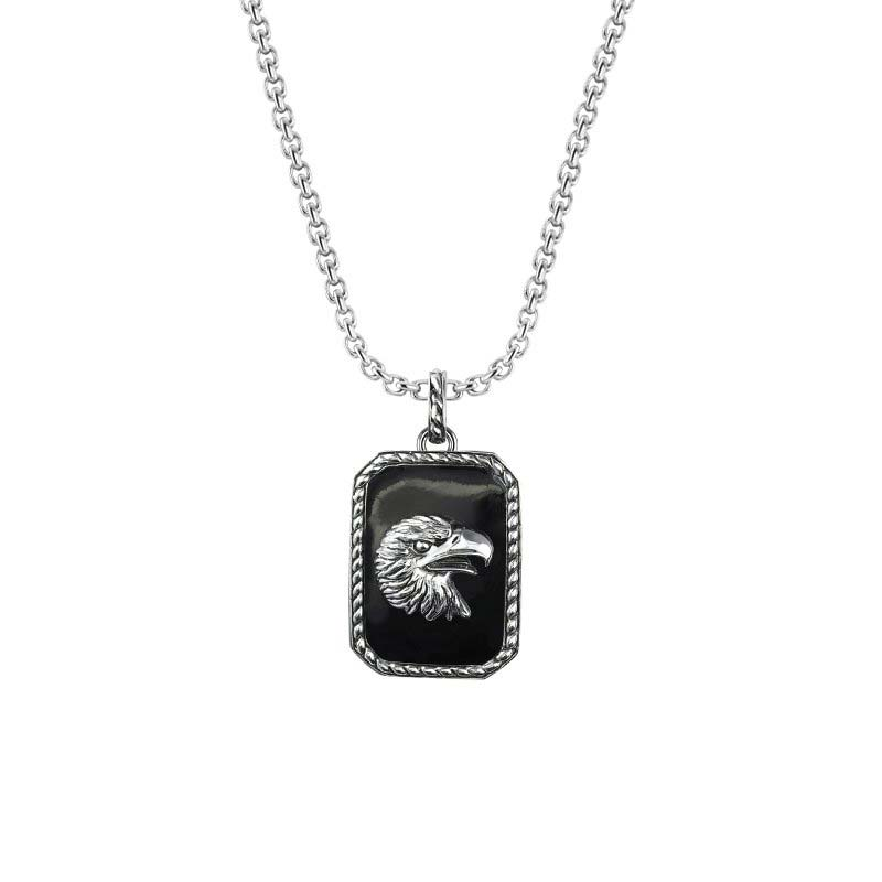 Biker's Necklace depicting Eagle'e head in silver on Black Onyx background