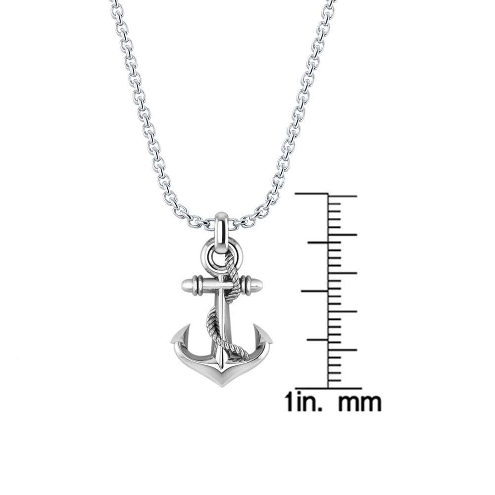 Three-dimensional men's Anchor Necklace in .925 Sterling Silver RSP-0391