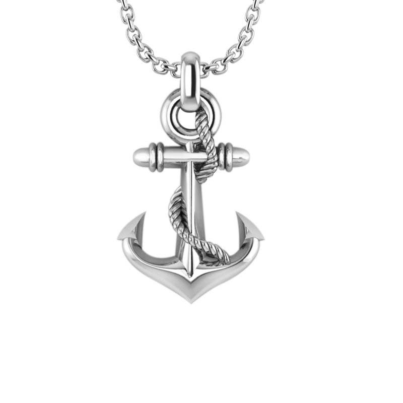 Three-dimensional men's Anchor Necklace in .925 Sterling Silver