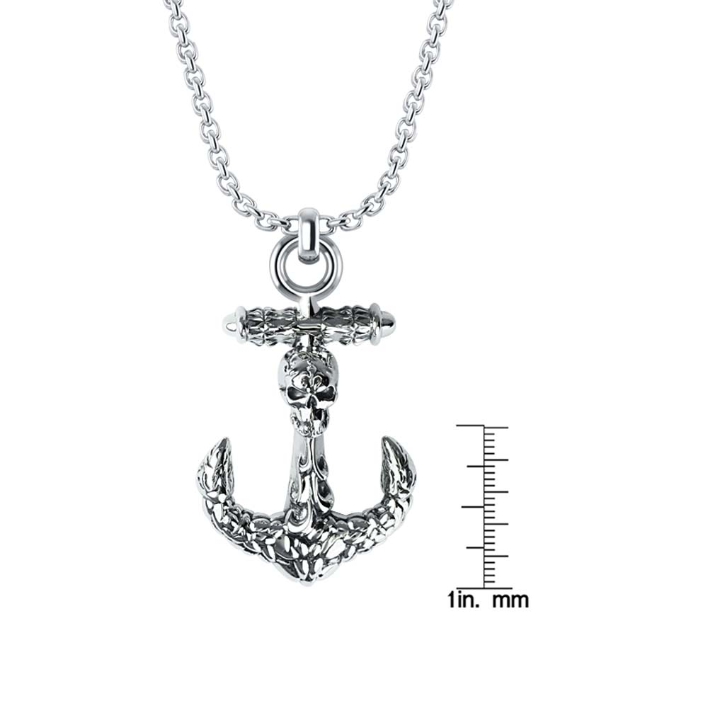 Three-Dimensional Anchor Necklace with skull and classic texture RSP-0393