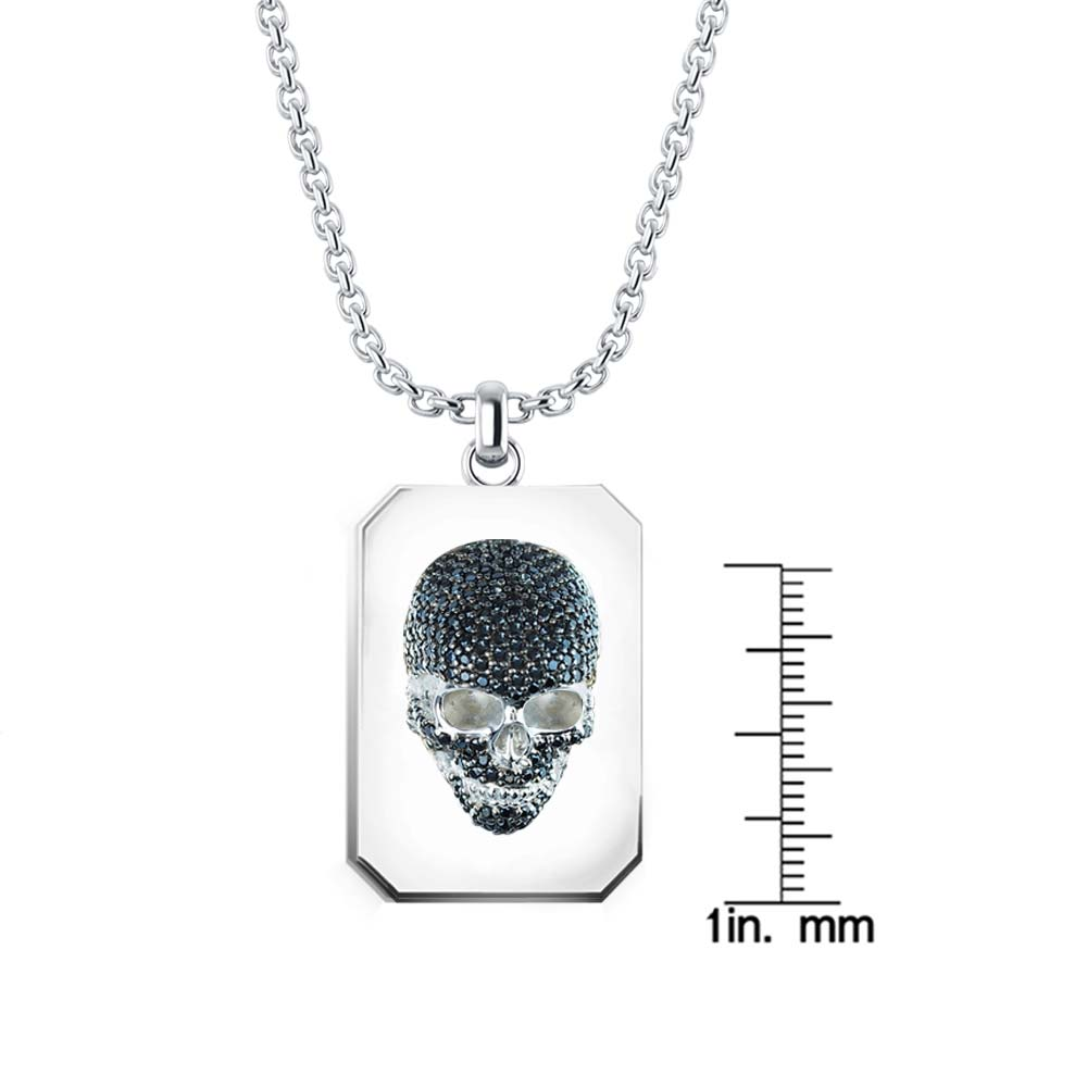 Extremely detailed intricate men's skull Necklace set with Black CZ RSP-0394