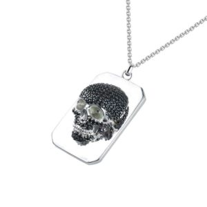 Extremely detailed intricate men's skull Necklace set with Black CZ