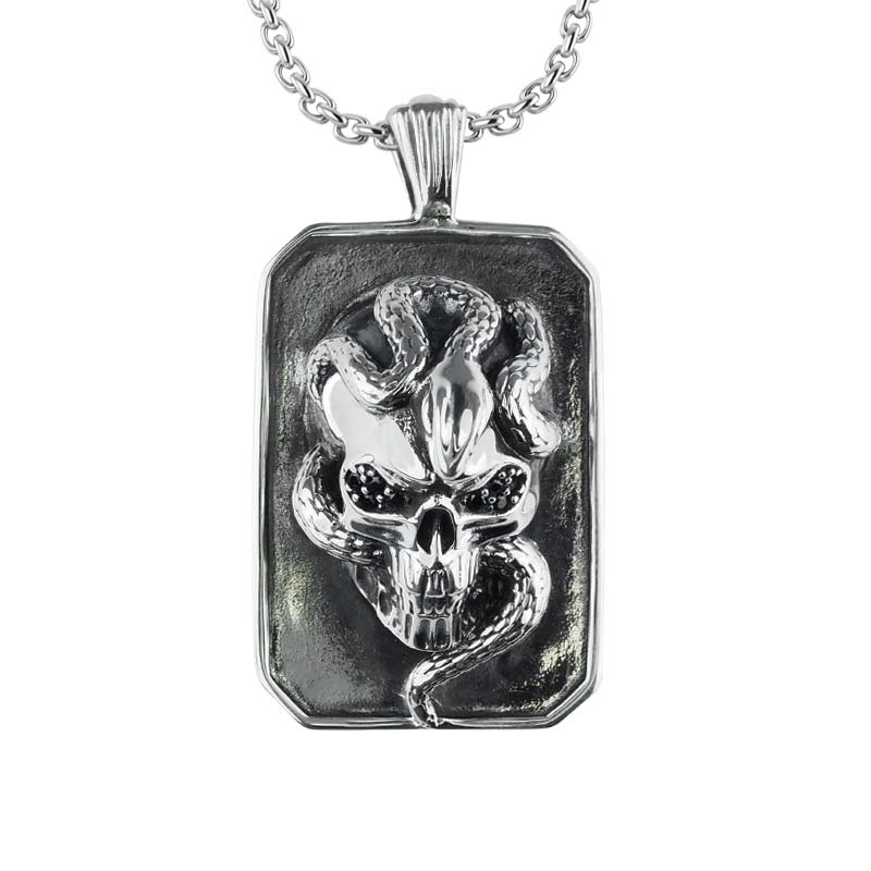 3D Skull Necklace with snake wrapped around