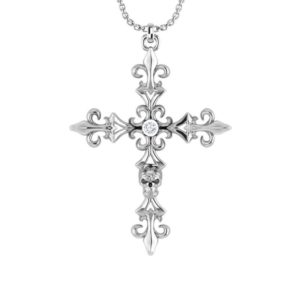 Cross Necklace with small Skull and intricate carvings
