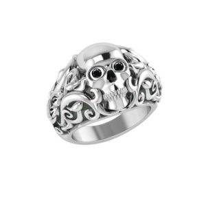 Handmade Sterling Silver skull face men's ring