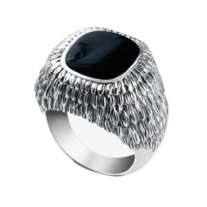 Dramatically masculine Black Onyx ring with intricate design