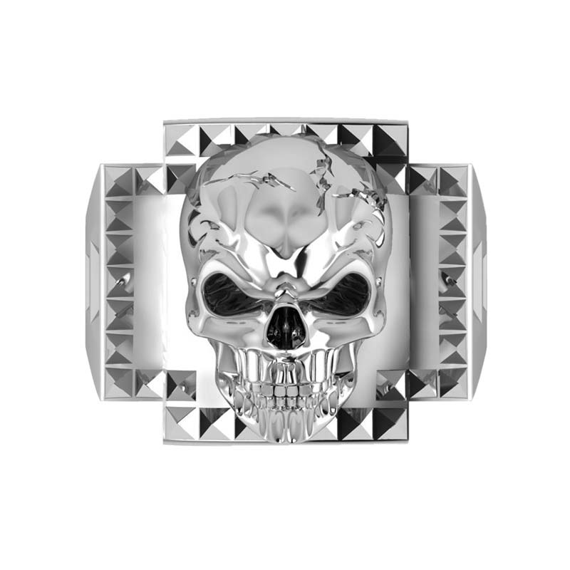 Frightening 3-D Sterling Silver Skull ring for bikers