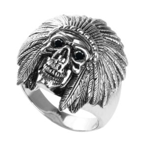 Sterling Silver Skull Ring with empty grin horned helmet