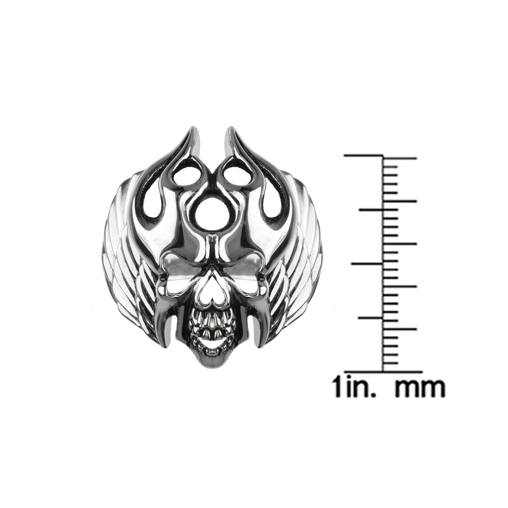 Evil looking silver skull ring with swirling flames RSR-0530