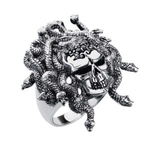 Fierce looking sterling skull ring boasting Medusa style crown of vipers