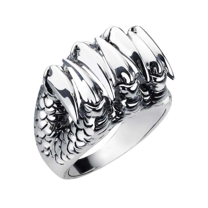 Sterling Silver Wicked Dragon ring with lizard like skin