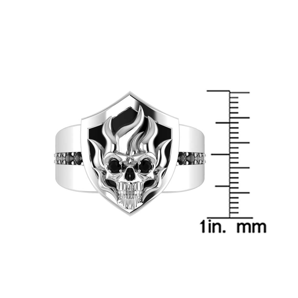 Skull Perched on Sheild Emblem of this Skull Ring