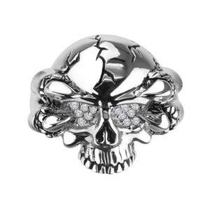 Glittering Eyes Skull Ring in Silver