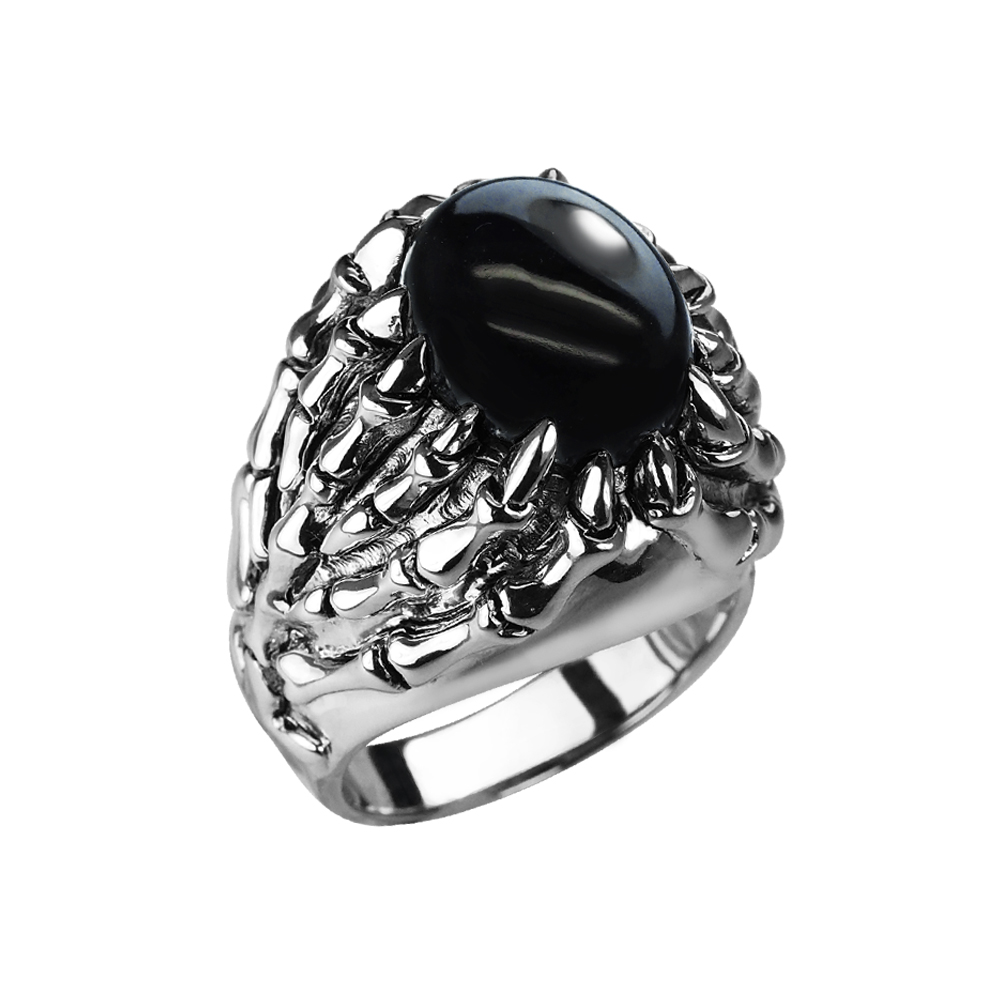 Sterling Silver Skeletal Black Onyx Ring