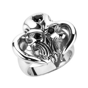 Horned Demon Skull Ring in Solid Sterling Silver